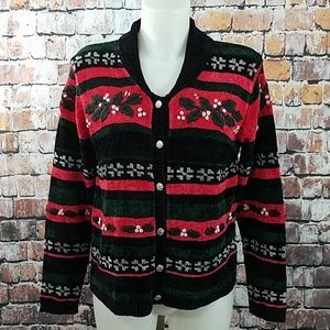 Christmas Cardigan Sweater Hand Embroidered